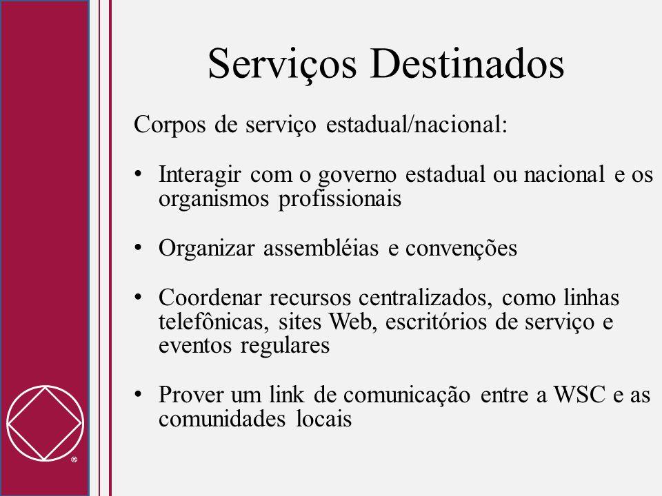 Serviços Destinados Corpos de serviço estadual/nacional: Interagir com o governo estadual ou nacional e os organismos profissionais Organizar assemblé
