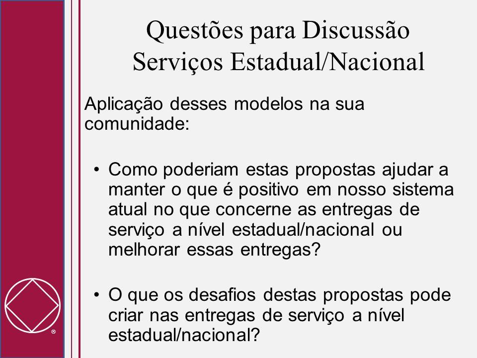 Questões para Discussão Serviços Estadual/Nacional Aplicação desses modelos na sua comunidade: Como poderiam estas propostas ajudar a manter o que é p