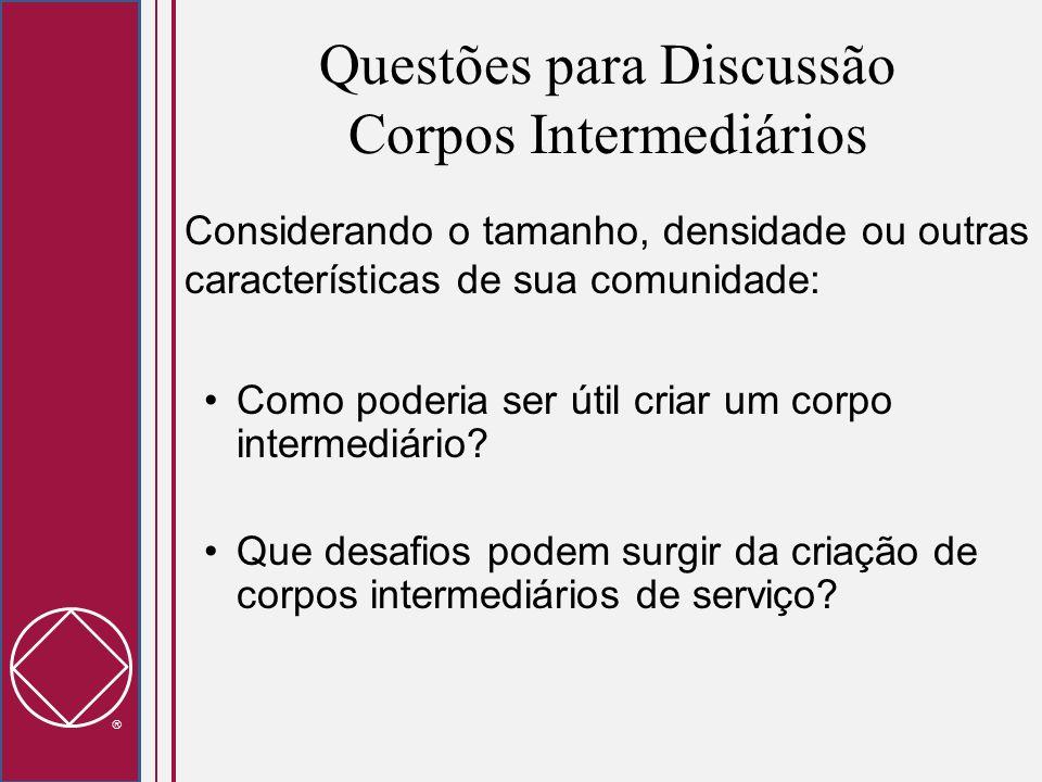 Questões para Discussão Corpos Intermediários Considerando o tamanho, densidade ou outras características de sua comunidade: Como poderia ser útil cri