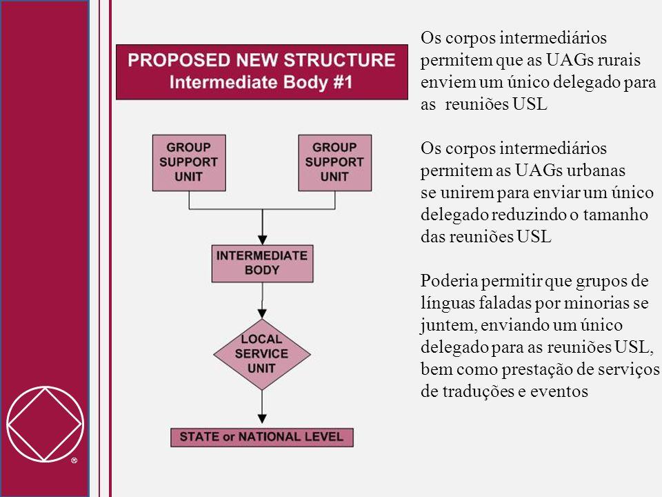 Os corpos intermediários permitem que as UAGs rurais enviem um único delegado para as reuniões USL Os corpos intermediários permitem as UAGs urbanas s