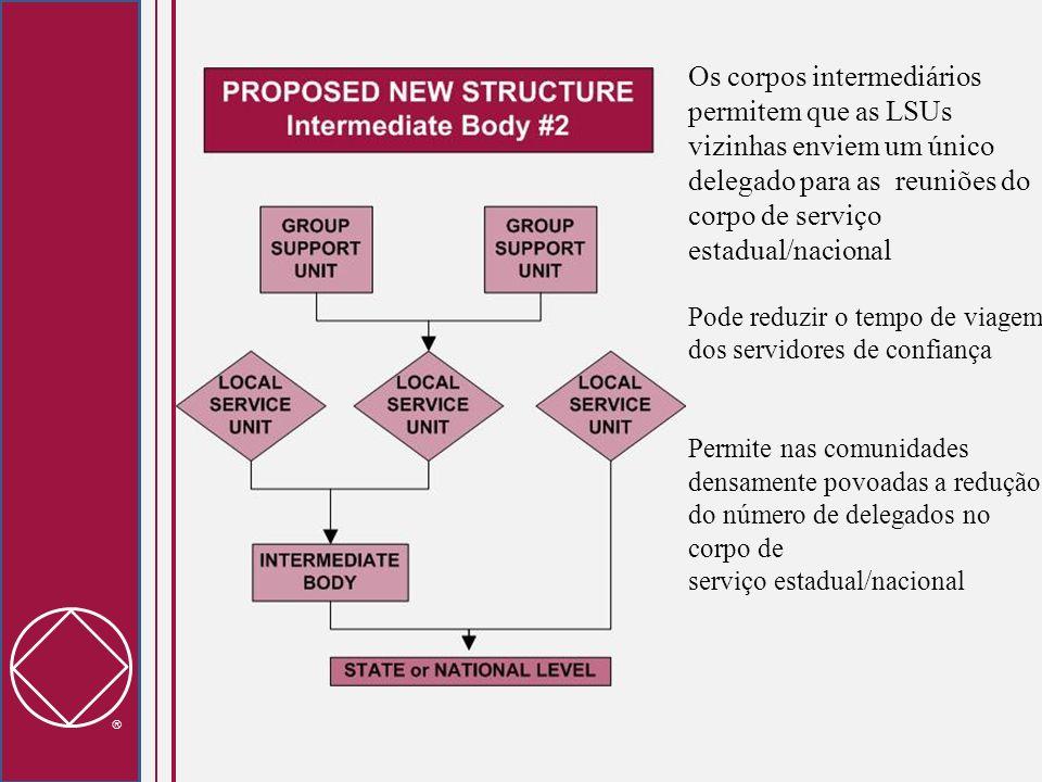 Os corpos intermediários permitem que as LSUs vizinhas enviem um único delegado para as reuniões do corpo de serviço estadual/nacional Pode reduzir o