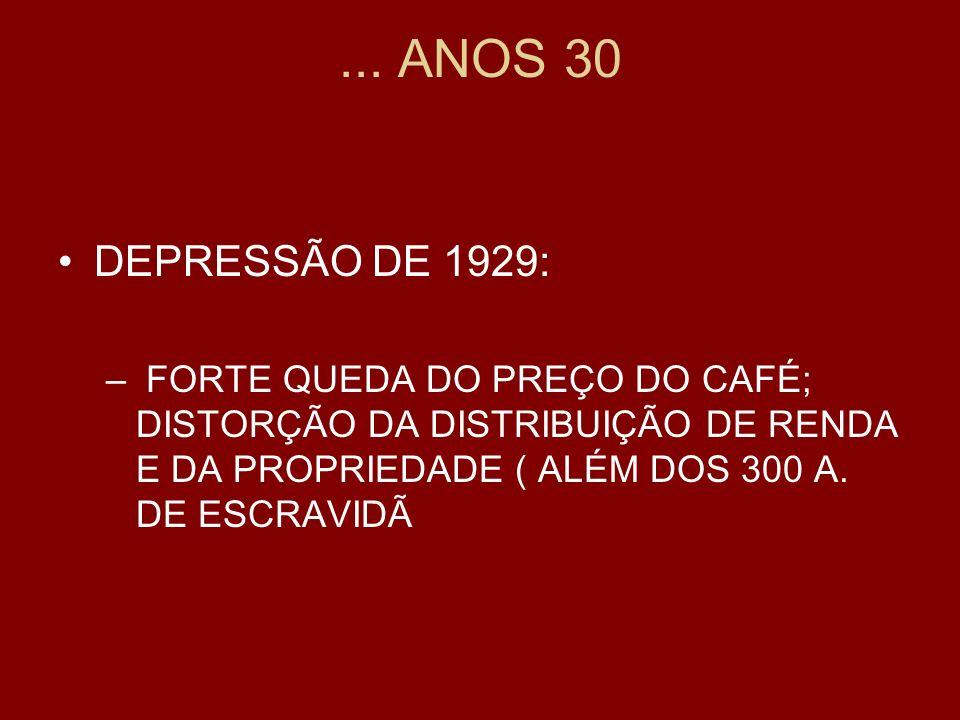 ... ANOS 30 DEPRESSÃO DE 1929: – FORTE QUEDA DO PREÇO DO CAFÉ; DISTORÇÃO DA DISTRIBUIÇÃO DE RENDA E DA PROPRIEDADE ( ALÉM DOS 300 A. DE ESCRAVIDÃ