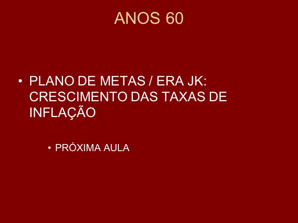 ANOS 60 PLANO DE METAS / ERA JK: CRESCIMENTO DAS TAXAS DE INFLAÇÃO PRÓXIMA AULA