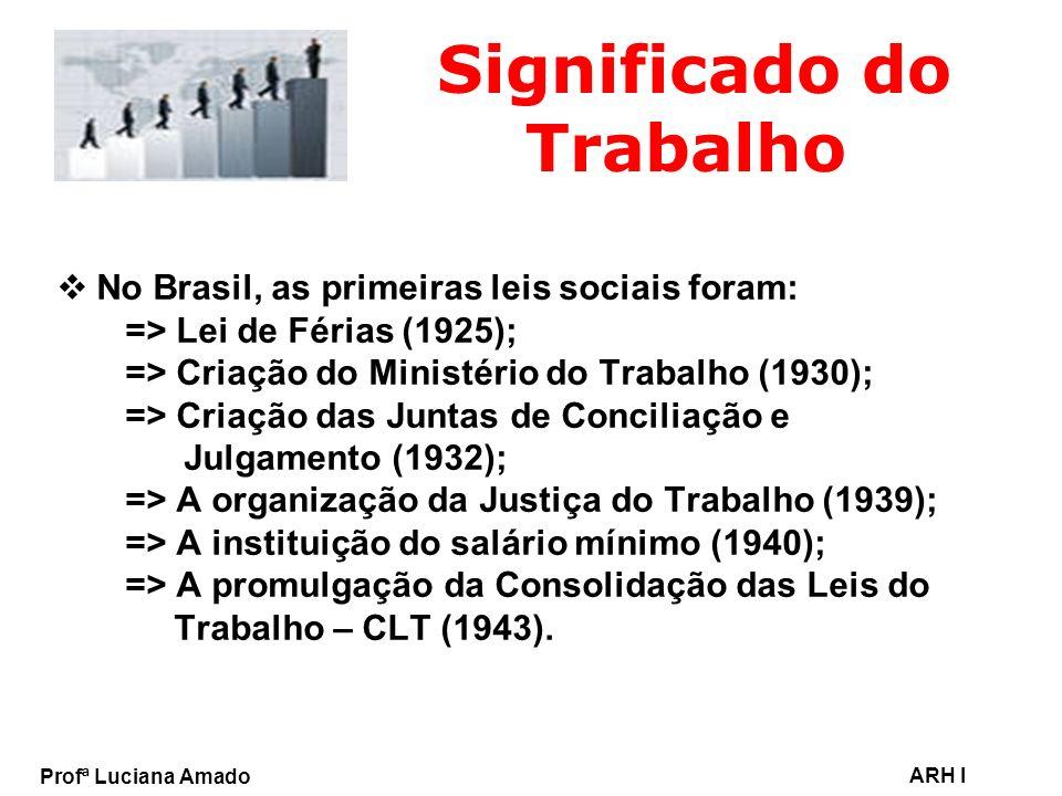 Profª Luciana Amado ARH I Significado do Trabalho No Brasil, as primeiras leis sociais foram: => Lei de Férias (1925); => Criação do Ministério do Tra