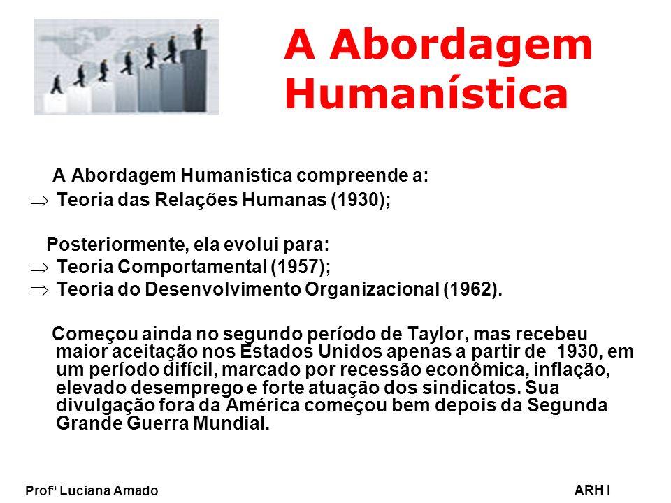 Profª Luciana Amado ARH I A Abordagem Humanística A Abordagem Humanística compreende a: Teoria das Relações Humanas (1930); Posteriormente, ela evolui