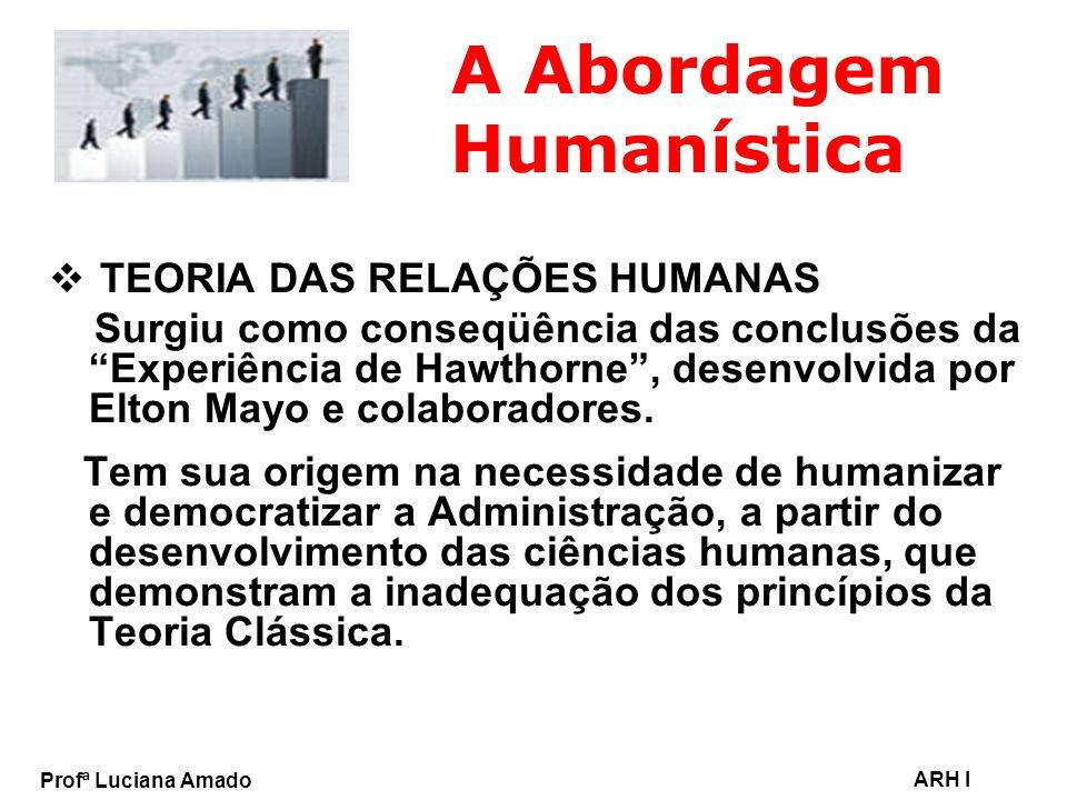 Profª Luciana Amado ARH I A Abordagem Humanística TEORIA DAS RELAÇÕES HUMANAS Surgiu como conseqüência das conclusões da Experiência de Hawthorne, des