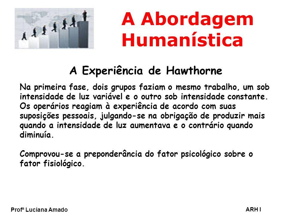 Profª Luciana Amado ARH I A Abordagem Humanística A Experiência de Hawthorne Na primeira fase, dois grupos faziam o mesmo trabalho, um sob intensidade