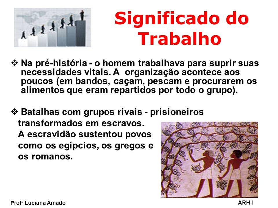 Profª Luciana Amado ARH I Significado do Trabalho Na pré-história - o homem trabalhava para suprir suas necessidades vitais. A organização acontece ao