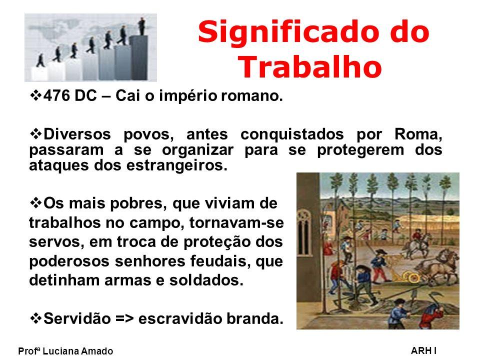Profª Luciana Amado ARH I Significado do Trabalho Final da Idade Média => decadência do feudalismo.