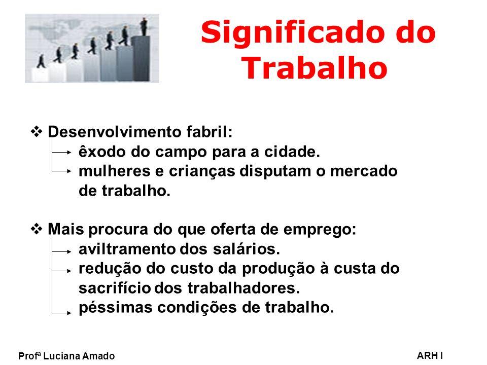 Profª Luciana Amado ARH I Significado do Trabalho Desenvolvimento fabril: êxodo do campo para a cidade. mulheres e crianças disputam o mercado de trab