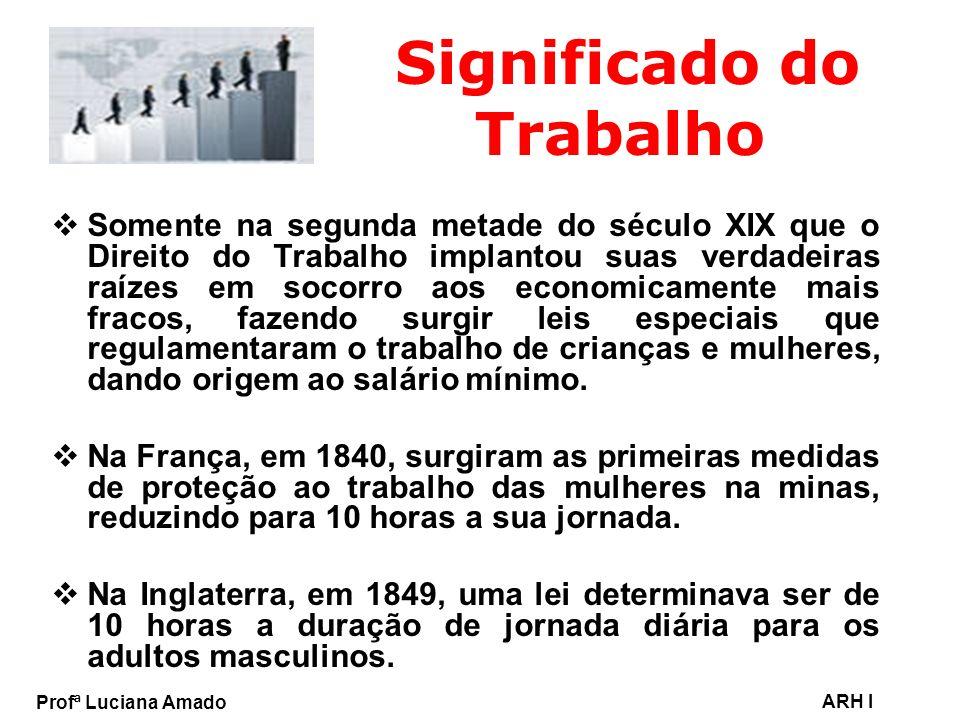 Profª Luciana Amado ARH I Significado do Trabalho No Brasil, as primeiras leis sociais foram: => Lei de Férias (1925); => Criação do Ministério do Trabalho (1930); => Criação das Juntas de Conciliação e Julgamento (1932); => A organização da Justiça do Trabalho (1939); => A instituição do salário mínimo (1940); => A promulgação da Consolidação das Leis do Trabalho – CLT (1943).