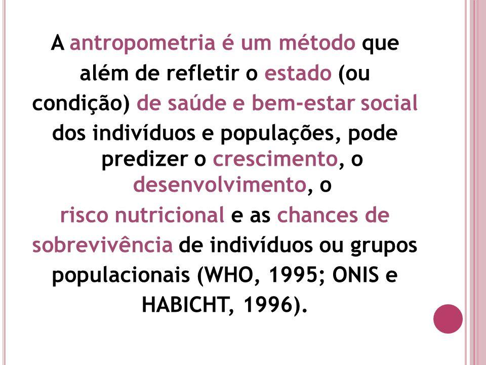 A antropometria é um método que além de refletir o estado (ou condição) de saúde e bem-estar social dos indivíduos e populações, pode predizer o cresc