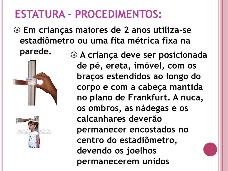 ESTATURA – PROCEDIMENTOS: Em crianças maiores de 2 anos utiliza-se estadiômetro ou uma fita métrica fixa na parede. A criança deve ser posicionada de