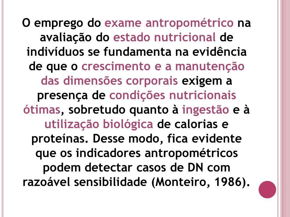 O emprego do exame antropométrico na avaliação do estado nutricional de indivíduos se fundamenta na evidência de que o crescimento e a manutenção das