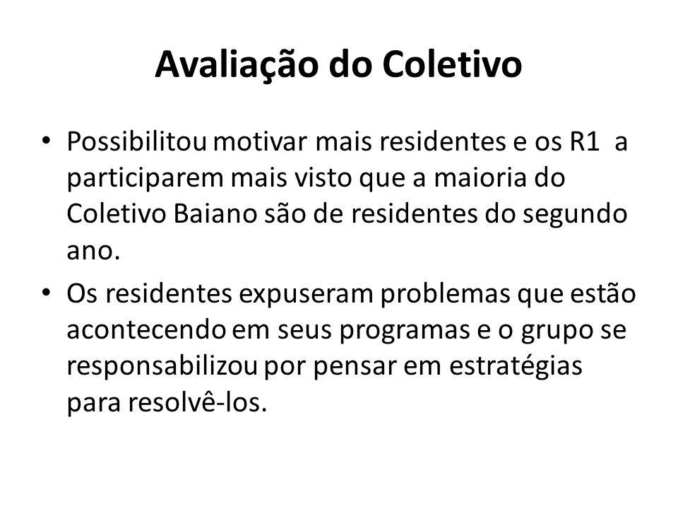Avaliação do Coletivo Possibilitou motivar mais residentes e os R1 a participarem mais visto que a maioria do Coletivo Baiano são de residentes do seg