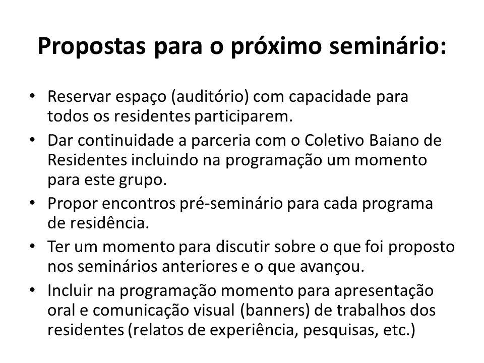 Propostas para o próximo seminário: Reservar espaço (auditório) com capacidade para todos os residentes participarem. Dar continuidade a parceria com