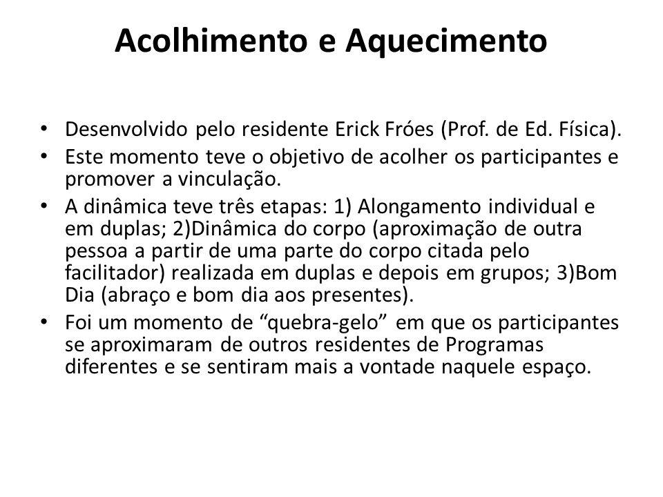 Desenvolvido pelo residente Erick Fróes (Prof. de Ed. Física). Este momento teve o objetivo de acolher os participantes e promover a vinculação. A din