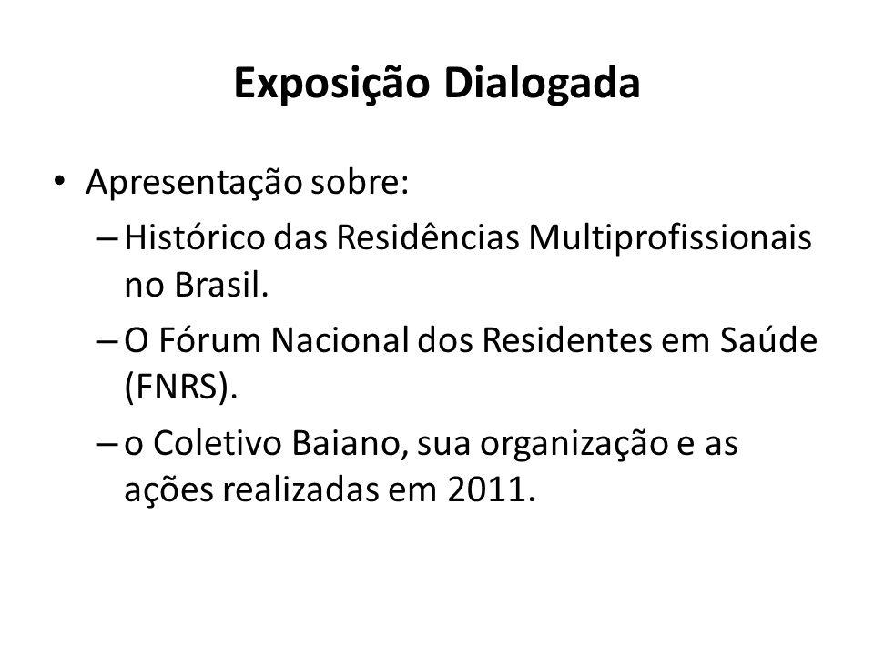 Exposição Dialogada Apresentação sobre: – Histórico das Residências Multiprofissionais no Brasil. – O Fórum Nacional dos Residentes em Saúde (FNRS). –