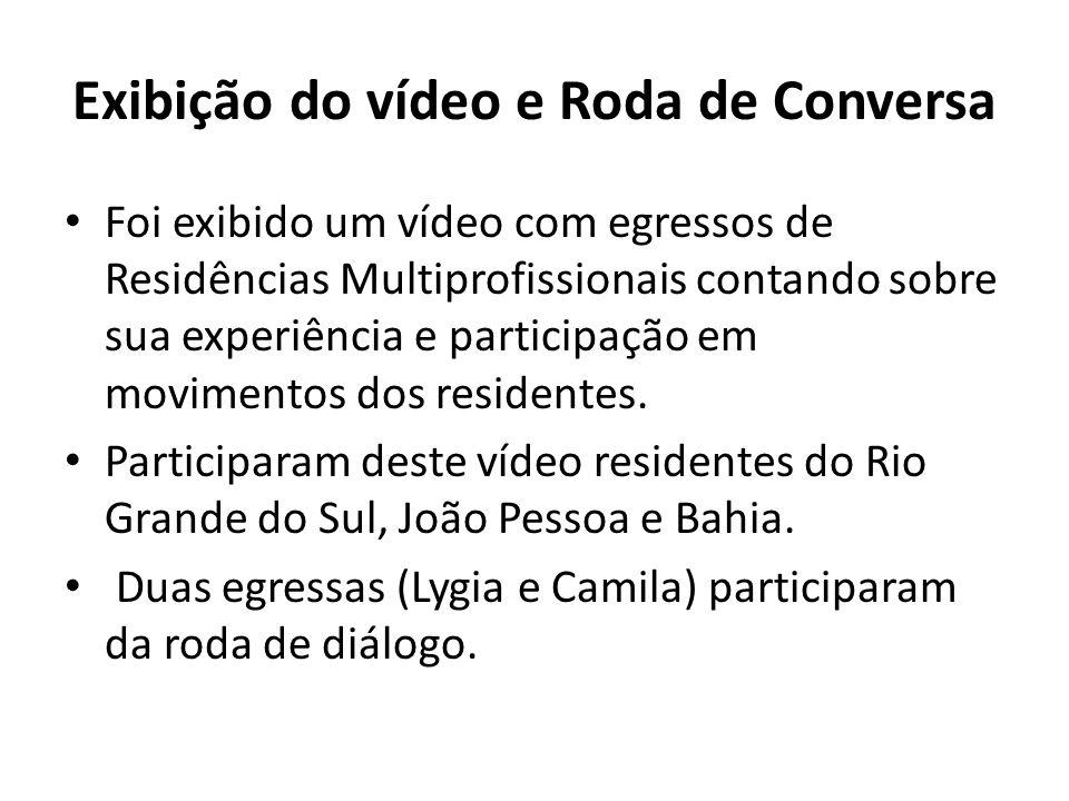 Exibição do vídeo e Roda de Conversa Foi exibido um vídeo com egressos de Residências Multiprofissionais contando sobre sua experiência e participação