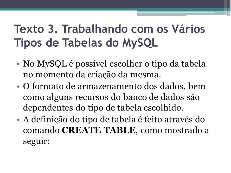 Texto 3. Trabalhando com os Vários Tipos de Tabelas do MySQL No MySQL é possível escolher o tipo da tabela no momento da criação da mesma. O formato d