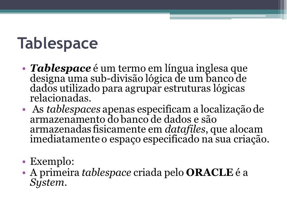 Tablespace Tablespace é um termo em língua inglesa que designa uma sub-divisão lógica de um banco de dados utilizado para agrupar estruturas lógicas r