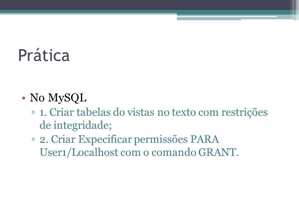 Prática No MySQL 1. Criar tabelas do vistas no texto com restrições de integridade; 2. Criar Expecificar permissões PARA User1/Localhost com o comando