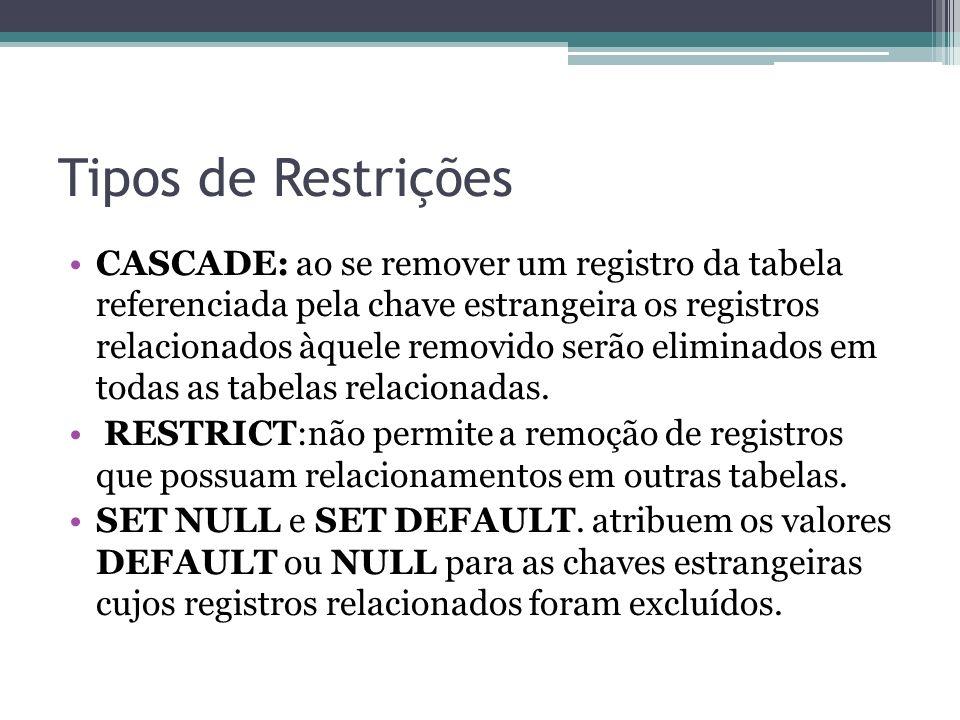 Tipos de Restrições CASCADE: ao se remover um registro da tabela referenciada pela chave estrangeira os registros relacionados àquele removido serão e