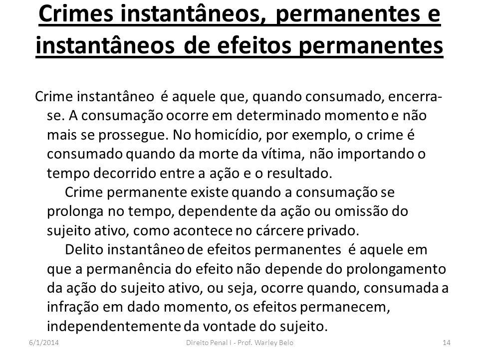 Crimes instantâneos, permanentes e instantâneos de efeitos permanentes Crime instantâneo é aquele que, quando consumado, encerra- se. A consumação oco