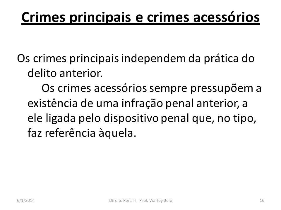 Crimes principais e crimes acessórios Os crimes principais independem da prática do delito anterior. Os crimes acessórios sempre pressupõem a existênc