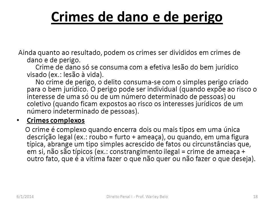 Crimes de dano e de perigo Ainda quanto ao resultado, podem os crimes ser divididos em crimes de dano e de perigo. Crime de dano só se consuma com a e