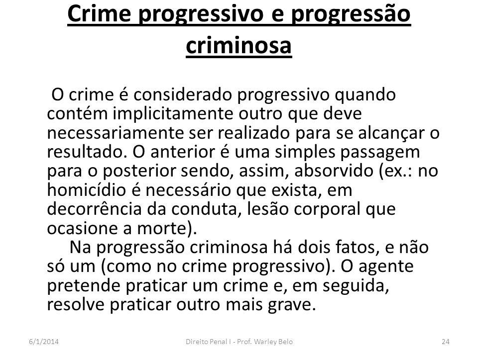 Crime progressivo e progressão criminosa O crime é considerado progressivo quando contém implicitamente outro que deve necessariamente ser realizado p