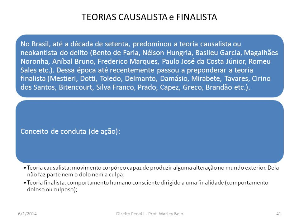 TEORIAS CAUSALISTA e FINALISTA No Brasil, até a década de setenta, predominou a teoria causalista ou neokantista do delito (Bento de Faria, Nélson Hun