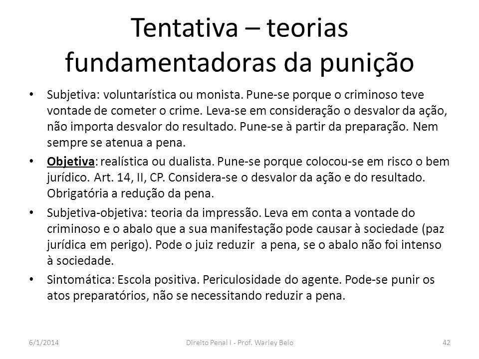Tentativa – teorias fundamentadoras da punição Subjetiva: voluntarística ou monista. Pune-se porque o criminoso teve vontade de cometer o crime. Leva-