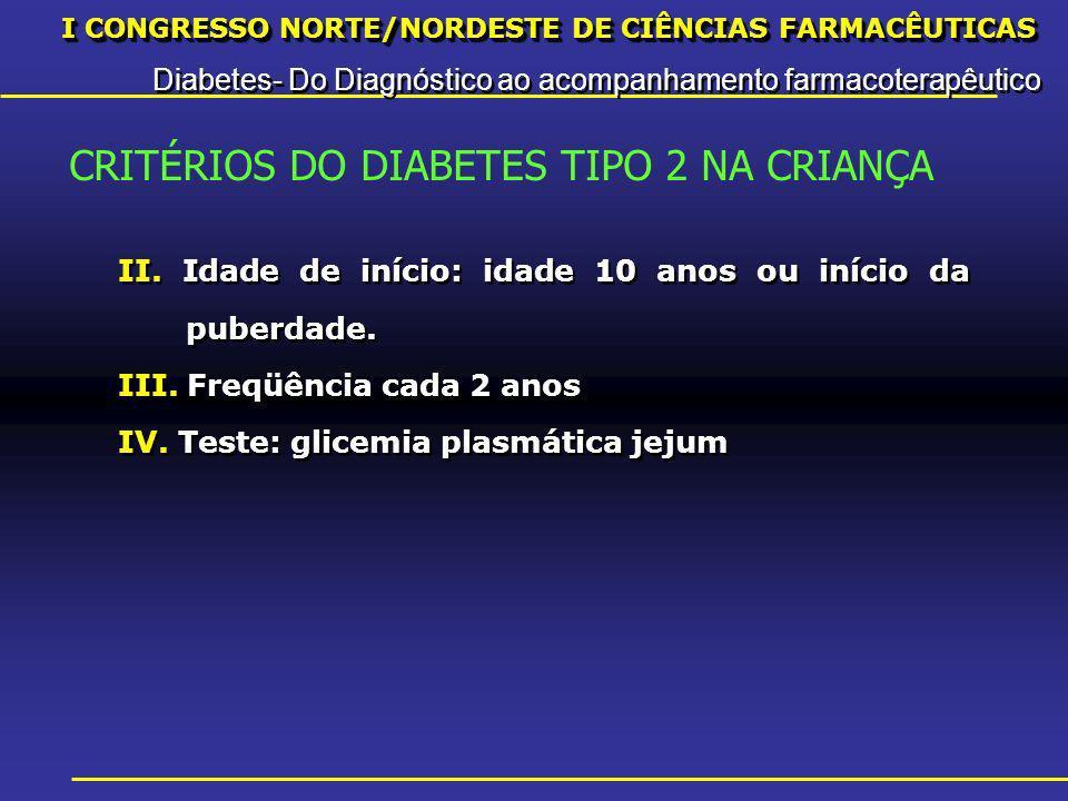 I CONGRESSO NORTE/NORDESTE DE CIÊNCIAS FARMACÊUTICAS Diabetes- Do Diagnóstico ao acompanhamento farmacoterapêutico I CONGRESSO NORTE/NORDESTE DE CIÊNCIAS FARMACÊUTICAS Diabetes- Do Diagnóstico ao acompanhamento farmacoterapêutico II.