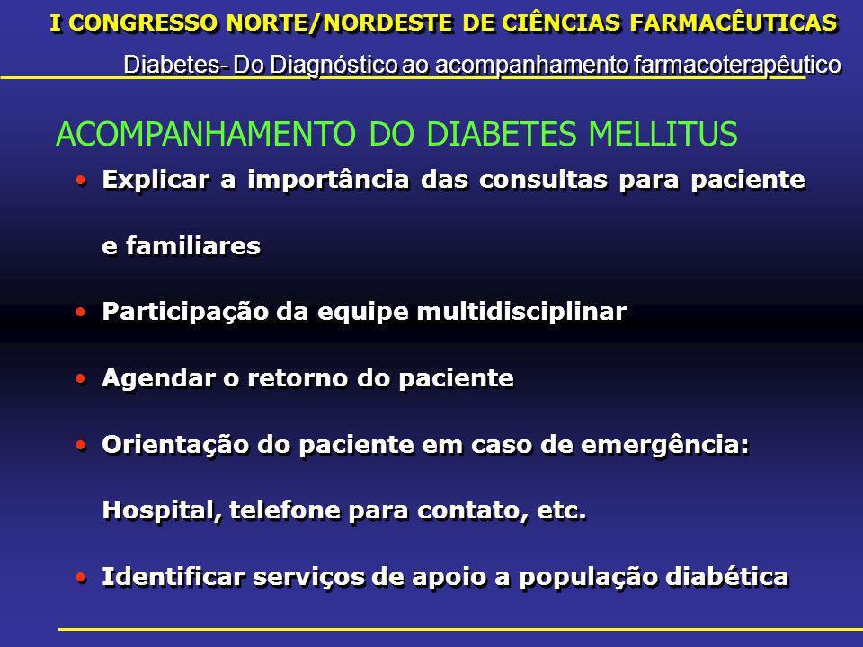 I CONGRESSO NORTE/NORDESTE DE CIÊNCIAS FARMACÊUTICAS Diabetes- Do Diagnóstico ao acompanhamento farmacoterapêutico I CONGRESSO NORTE/NORDESTE DE CIÊNCIAS FARMACÊUTICAS Diabetes- Do Diagnóstico ao acompanhamento farmacoterapêutico Explicar a importância das consultas para paciente e familiares Participação da equipe multidisciplinar Agendar o retorno do paciente Orientação do paciente em caso de emergência: Hospital, telefone para contato, etc.