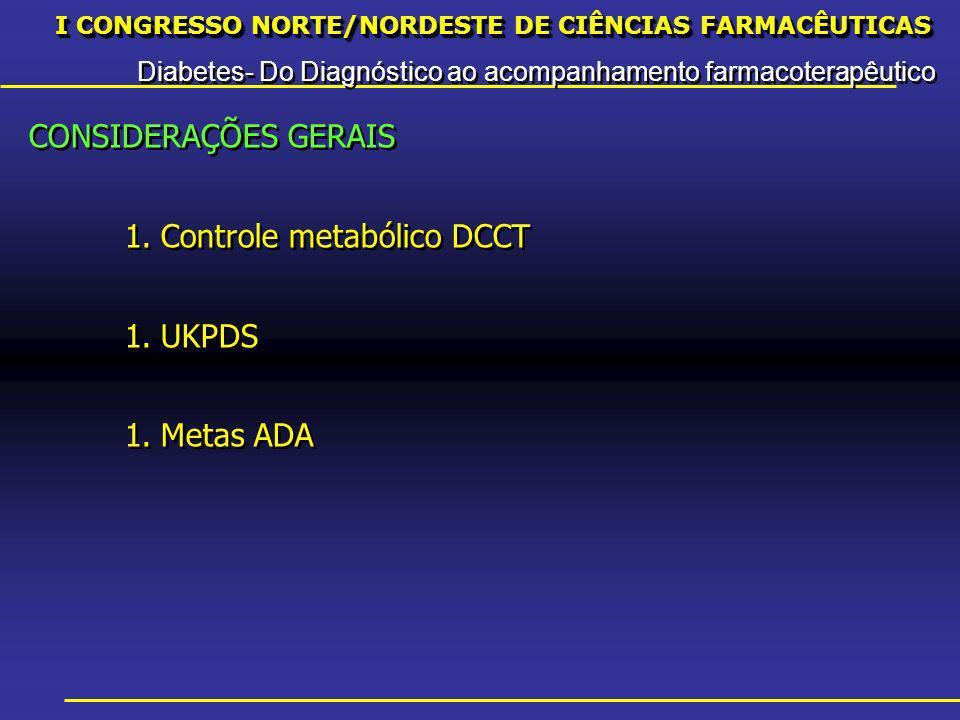 I CONGRESSO NORTE/NORDESTE DE CIÊNCIAS FARMACÊUTICAS Diabetes- Do Diagnóstico ao acompanhamento farmacoterapêutico I CONGRESSO NORTE/NORDESTE DE CIÊNCIAS FARMACÊUTICAS Diabetes- Do Diagnóstico ao acompanhamento farmacoterapêutico CONSIDERAÇÕES GERAIS 1.Controle metabólico DCCT 1.UKPDS 1.Metas ADA CONSIDERAÇÕES GERAIS 1.Controle metabólico DCCT 1.UKPDS 1.Metas ADA