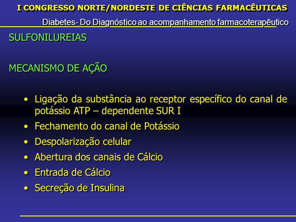 I CONGRESSO NORTE/NORDESTE DE CIÊNCIAS FARMACÊUTICAS Diabetes- Do Diagnóstico ao acompanhamento farmacoterapêutico I CONGRESSO NORTE/NORDESTE DE CIÊNCIAS FARMACÊUTICAS Diabetes- Do Diagnóstico ao acompanhamento farmacoterapêutico SULFONILUREIAS MECANISMO DE AÇÃO Ligação da substância ao receptor específico do canal de potássio ATP – dependente SUR I Fechamento do canal de Potássio Despolarização celular Abertura dos canais de Cálcio Entrada de Cálcio Secreção de Insulina SULFONILUREIAS MECANISMO DE AÇÃO Ligação da substância ao receptor específico do canal de potássio ATP – dependente SUR I Fechamento do canal de Potássio Despolarização celular Abertura dos canais de Cálcio Entrada de Cálcio Secreção de Insulina