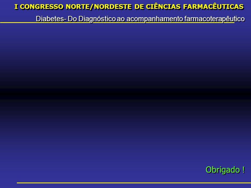I CONGRESSO NORTE/NORDESTE DE CIÊNCIAS FARMACÊUTICAS Diabetes- Do Diagnóstico ao acompanhamento farmacoterapêutico I CONGRESSO NORTE/NORDESTE DE CIÊNCIAS FARMACÊUTICAS Diabetes- Do Diagnóstico ao acompanhamento farmacoterapêutico Obrigado !
