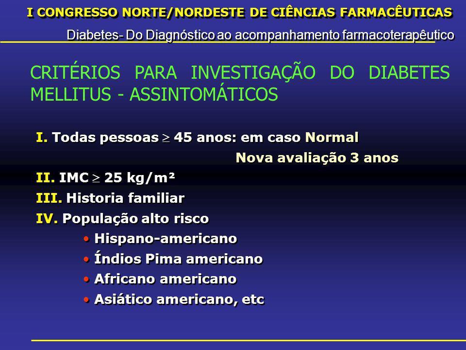 I CONGRESSO NORTE/NORDESTE DE CIÊNCIAS FARMACÊUTICAS Diabetes- Do Diagnóstico ao acompanhamento farmacoterapêutico I CONGRESSO NORTE/NORDESTE DE CIÊNCIAS FARMACÊUTICAS Diabetes- Do Diagnóstico ao acompanhamento farmacoterapêutico I.