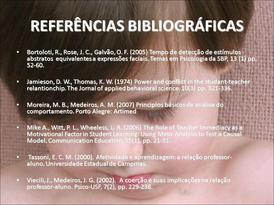 REFERÊNCIAS BIBLIOGRÁFICAS Bortoloti, R., Rose, J. C., Galvão, O. F. (2005) Tempo de detecção de estímulos abstratos equivalentes a expressões faciais