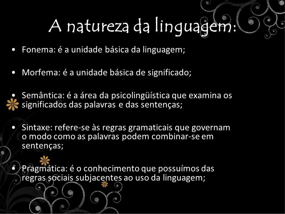 A natureza da linguagem: Fonema: é a unidade básica da linguagem; Morfema: é a unidade básica de significado; Semântica: é a área da psicolingüística