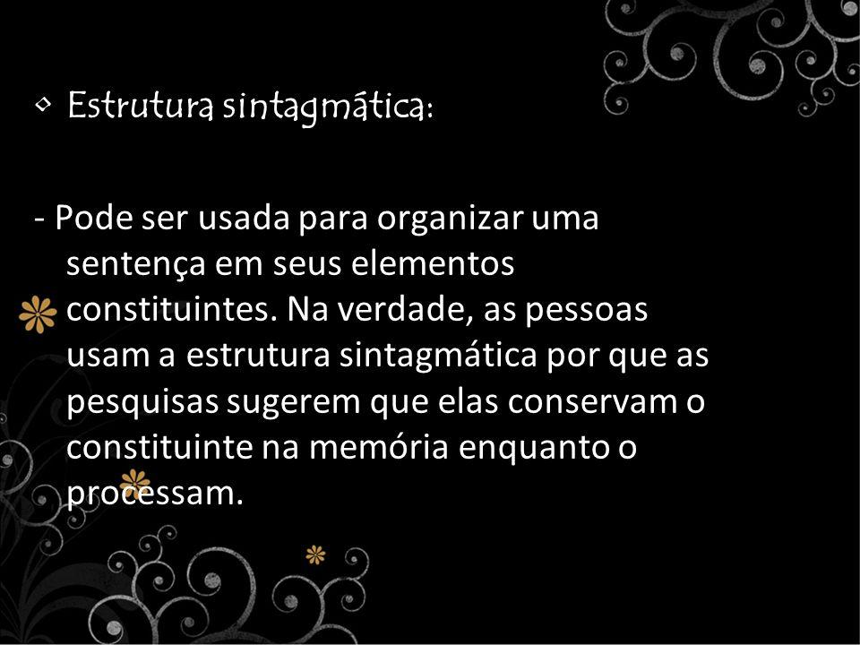 Estrutura sintagmática: - Pode ser usada para organizar uma sentença em seus elementos constituintes. Na verdade, as pessoas usam a estrutura sintagmá