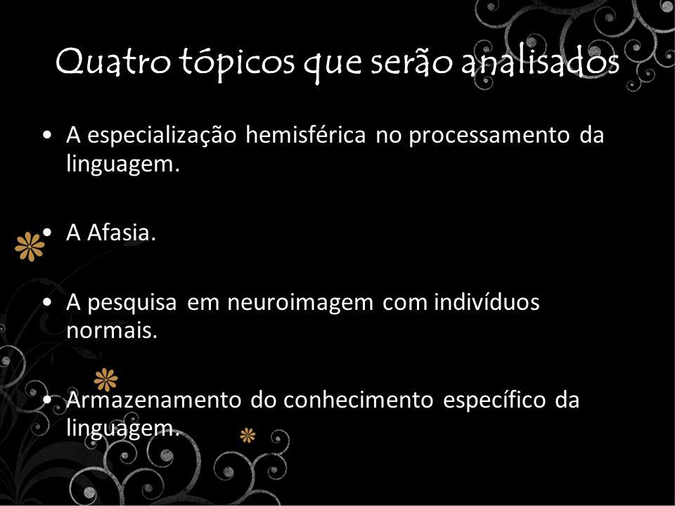 Quatro tópicos que serão analisados A especialização hemisférica no processamento da linguagem. A Afasia. A pesquisa em neuroimagem com indivíduos nor