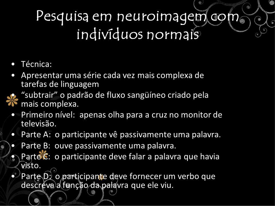 Pesquisa em neuroimagem com indivíduos normais Técnica: Apresentar uma série cada vez mais complexa de tarefas de linguagem subtrair o padrão de fluxo