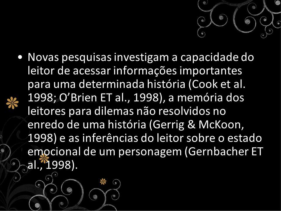 Novas pesquisas investigam a capacidade do leitor de acessar informações importantes para uma determinada história (Cook et al. 1998; OBrien ET al., 1