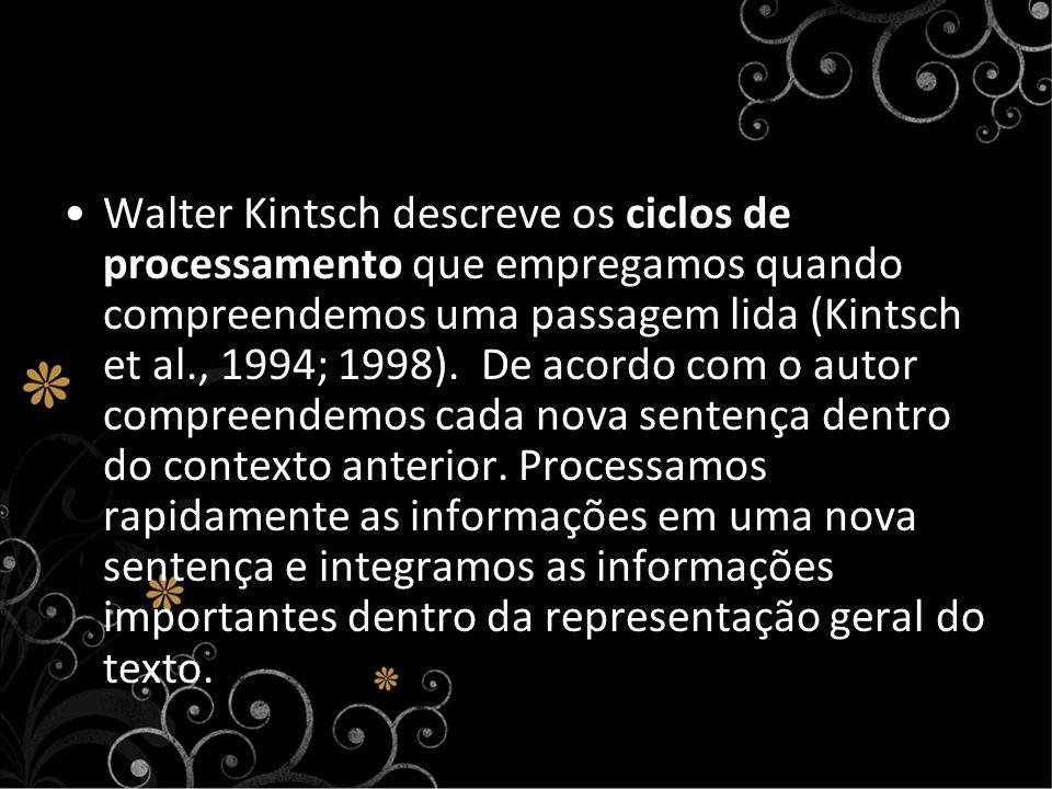Walter Kintsch descreve os ciclos de processamento que empregamos quando compreendemos uma passagem lida (Kintsch et al., 1994; 1998). De acordo com o