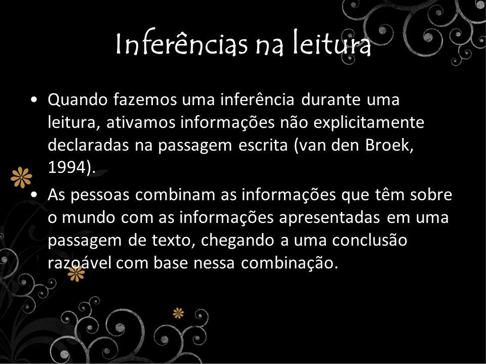 Inferências na leitura Quando fazemos uma inferência durante uma leitura, ativamos informações não explicitamente declaradas na passagem escrita (van