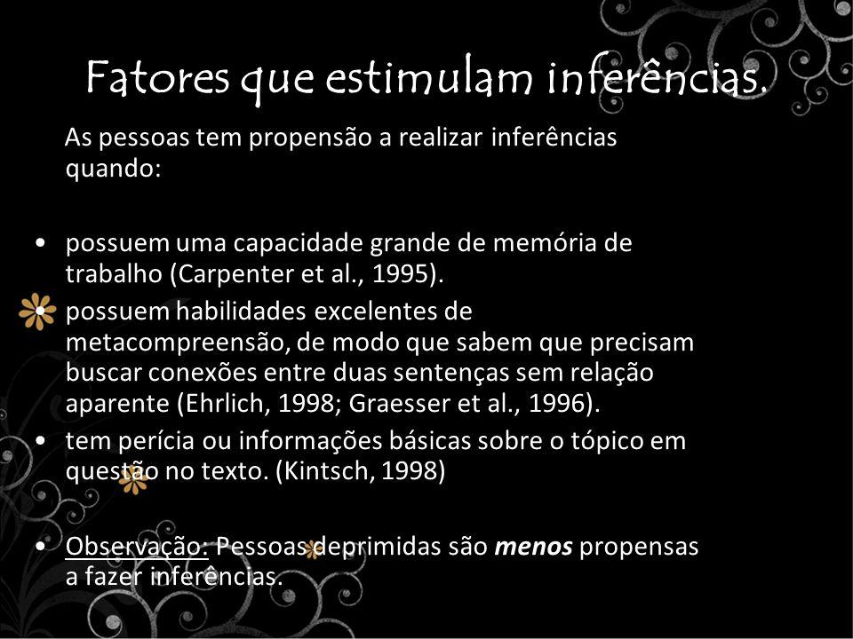 Fatores que estimulam inferências. As pessoas tem propensão a realizar inferências quando: possuem uma capacidade grande de memória de trabalho (Carpe
