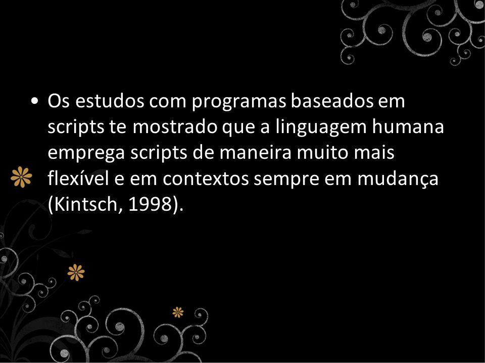 Os estudos com programas baseados em scripts te mostrado que a linguagem humana emprega scripts de maneira muito mais flexível e em contextos sempre e