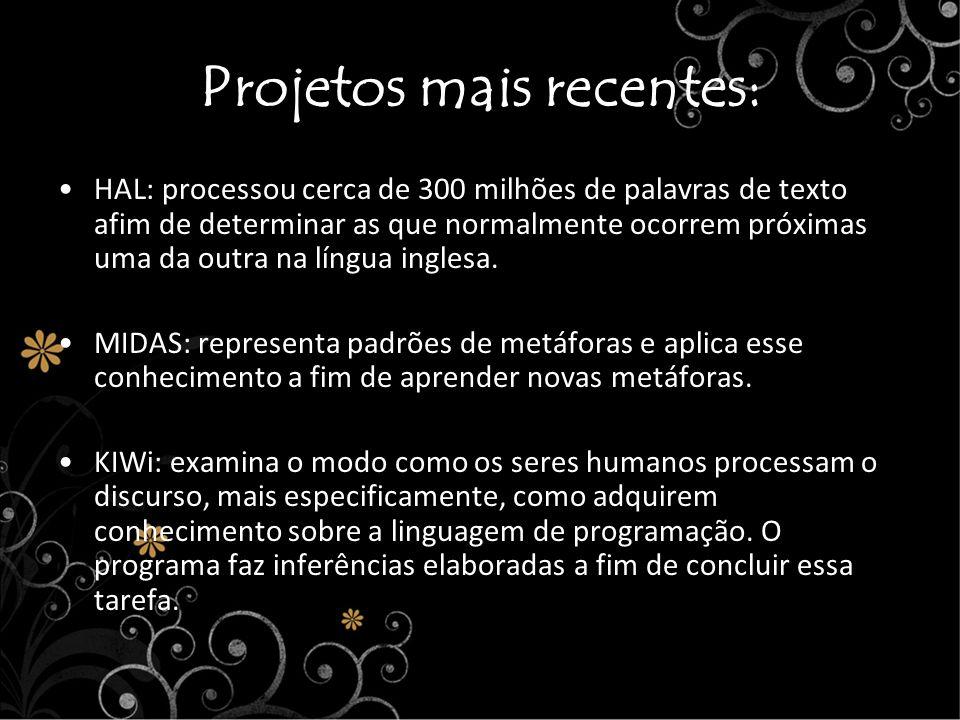 Projetos mais recentes: HAL: processou cerca de 300 milhões de palavras de texto afim de determinar as que normalmente ocorrem próximas uma da outra n